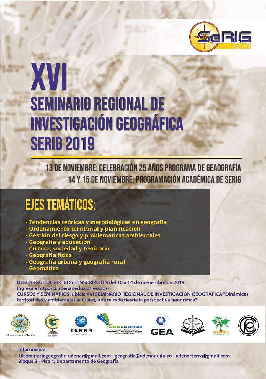 afiche Seminario geografia Serig 2019
