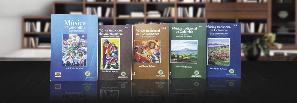 Libros de música de Colombia y Latinoamérica con arreglos para bandas sinfónicas, grupos de cámara y solo instrumental.