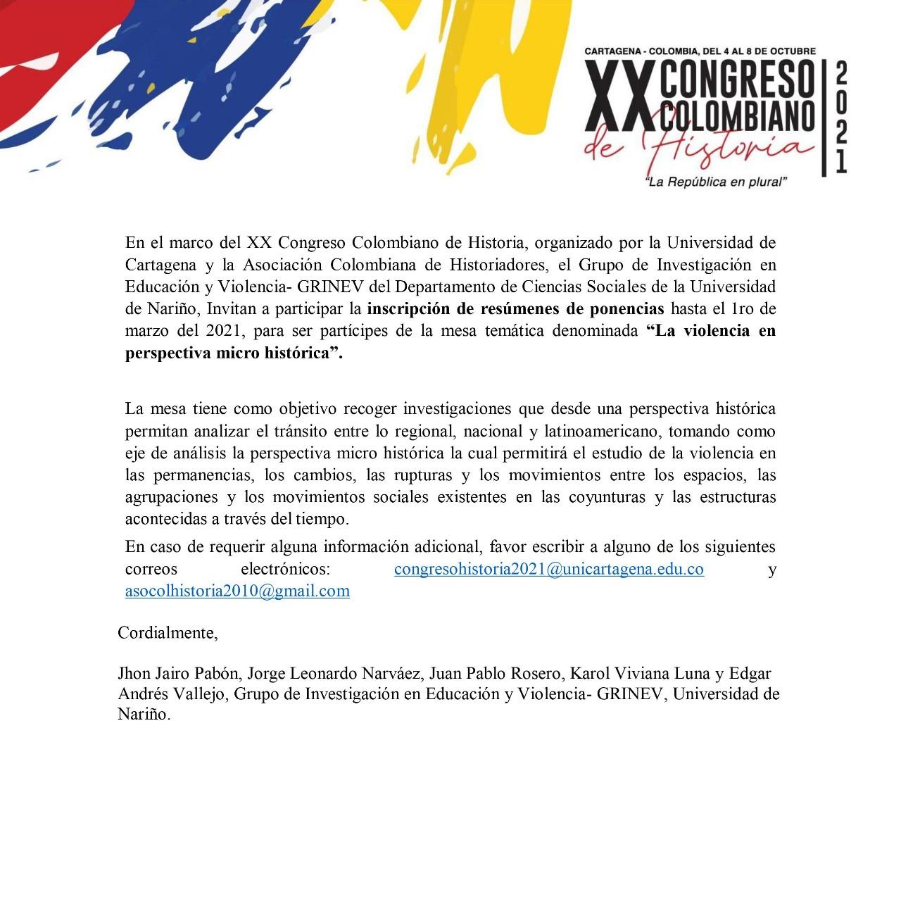 Publicidad XX Congreso Colombiano de Historia