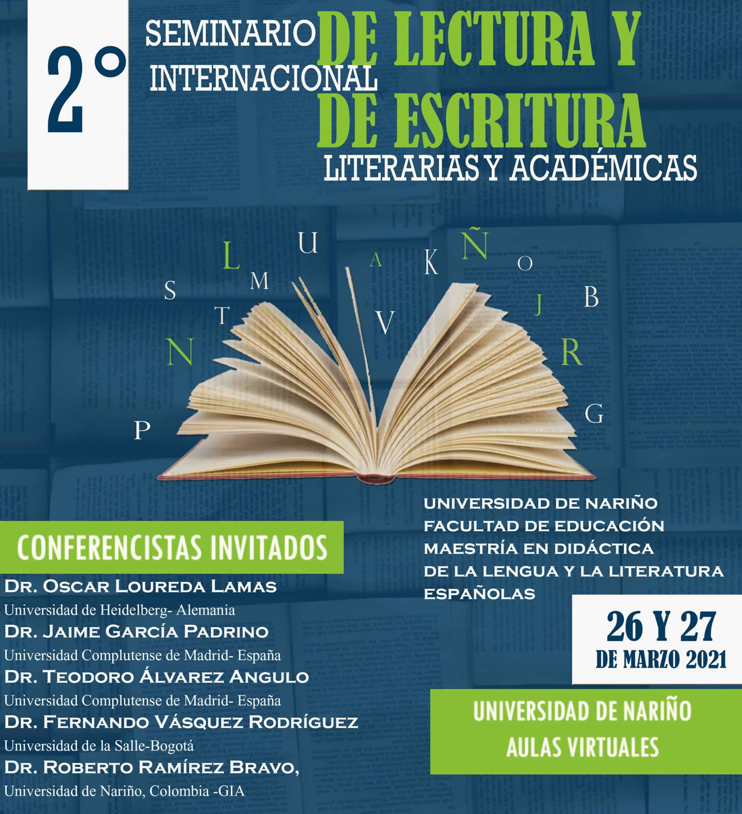 afiche 2 seminario internacional lectura escritura 2021