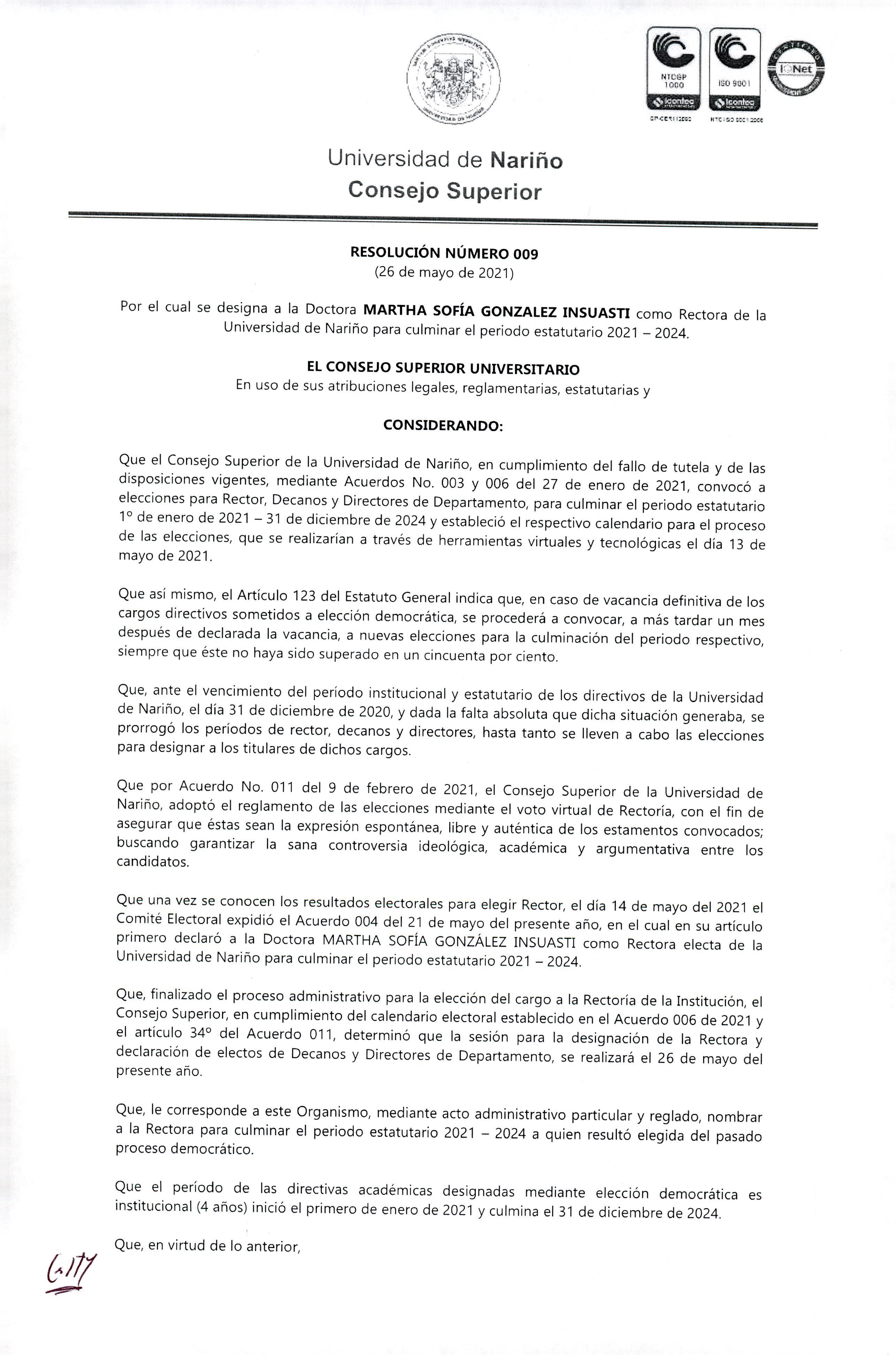 resolucion_009 _designacion_RECTORA_2021-2024_pag1