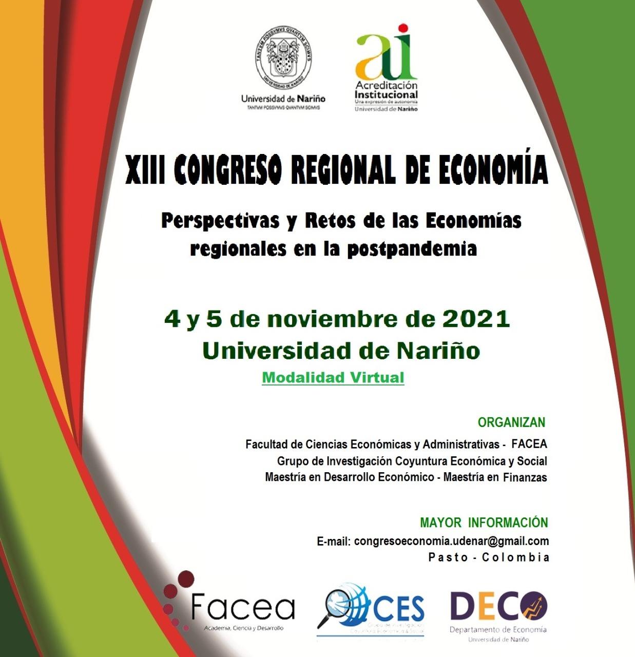 XIII CONGRESO REGIONAL DE ECONOMIA 2021